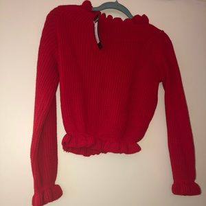 Red cropped sweater from nasty gal